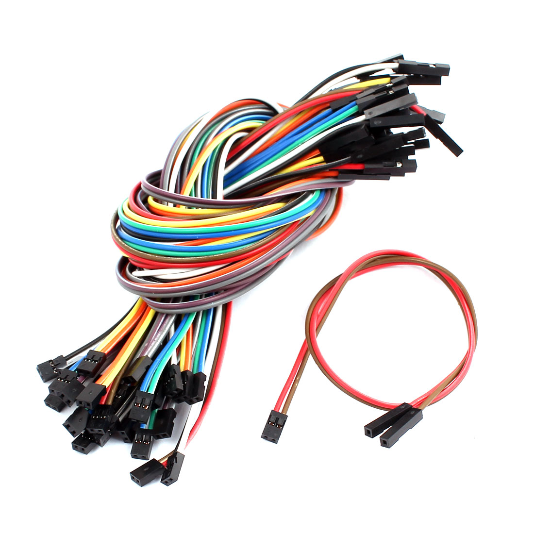 30pcs 30cm 12 inches Multicolored 2P 2.0mm to 1P 2.54mm Female to Female Breadboard Jumper Wires Ribbon Cables Kit