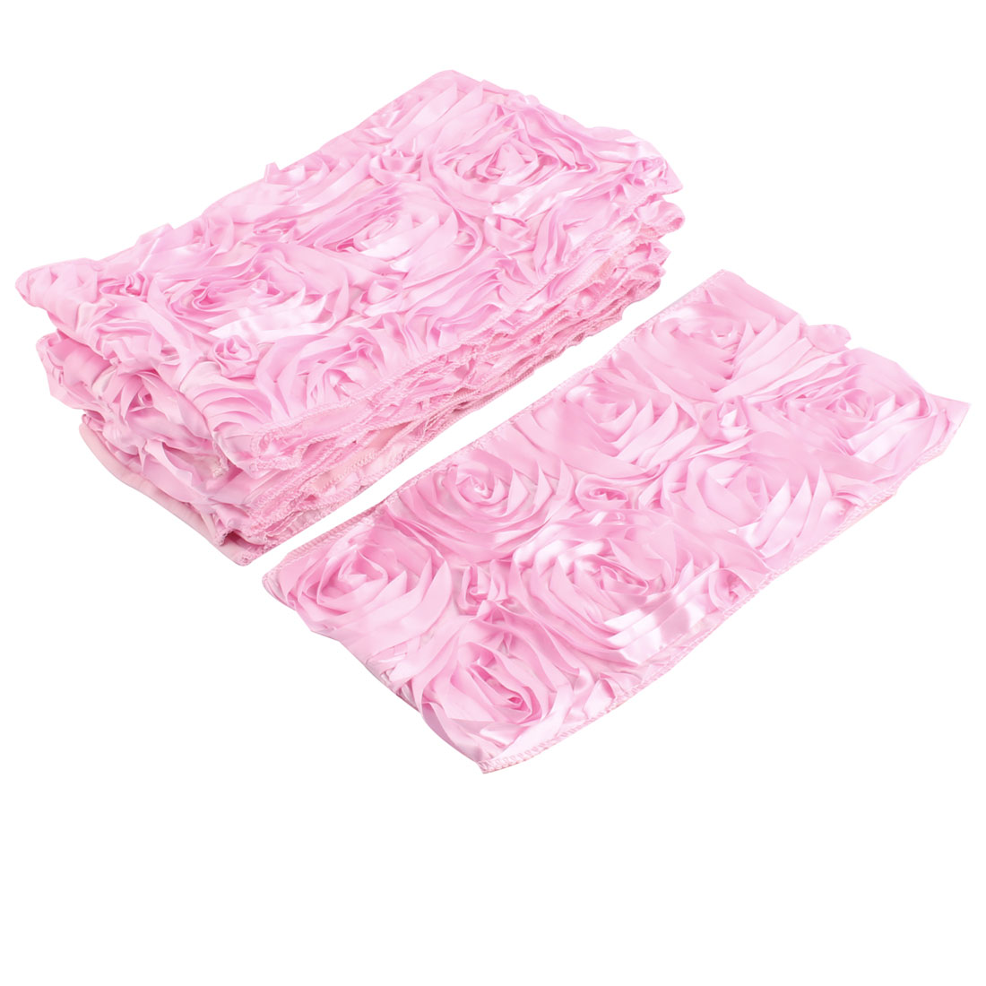 Wedding Banquet Elastic Flowers Design Chair Cover Bow Seat Sash Decoration Pink 10pcs
