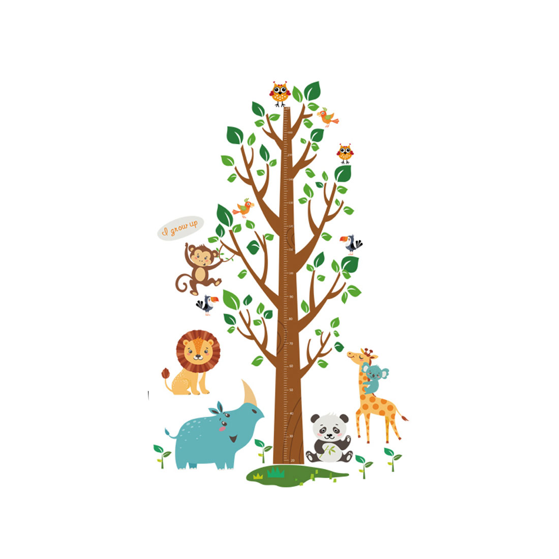 Home PVC Animals Height Tree Prints DIY Ornament Wall Sticker Decal Mural 60 x 90cm