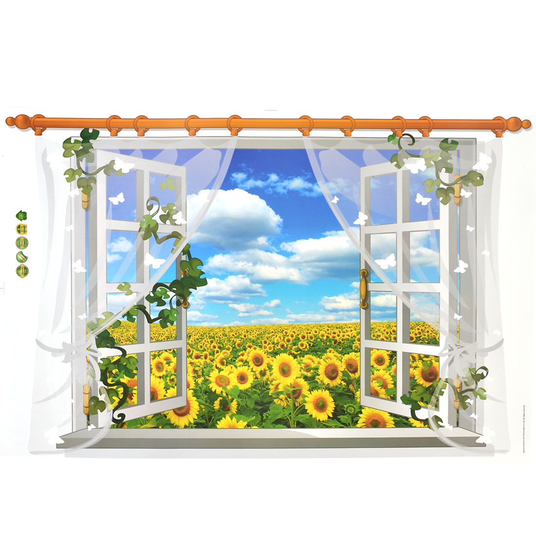 Living Room PVC Sunflowers Print DIY Ornament Wall Sticker Decal Mural 60 x 90cm