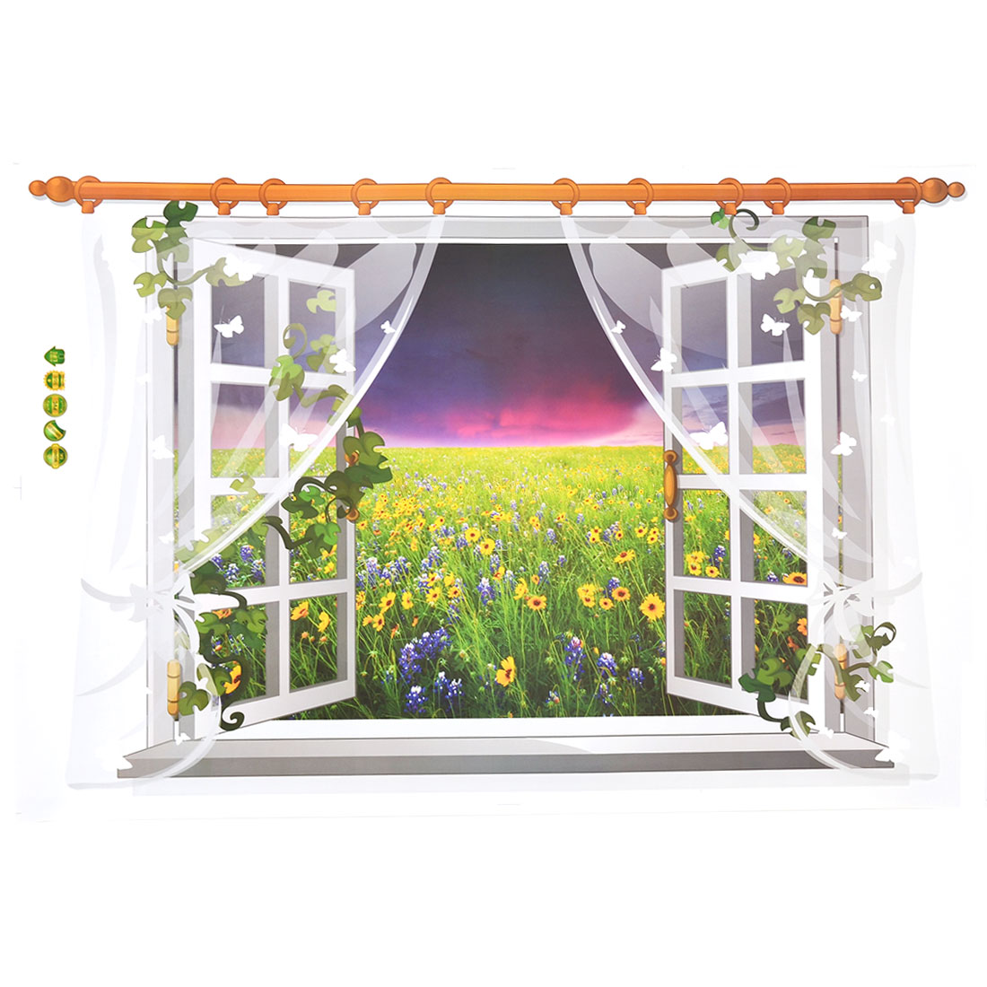 Living Room PVC Flower Print DIY Ornament Wall Sticker Decal Mural 60 x 90cm