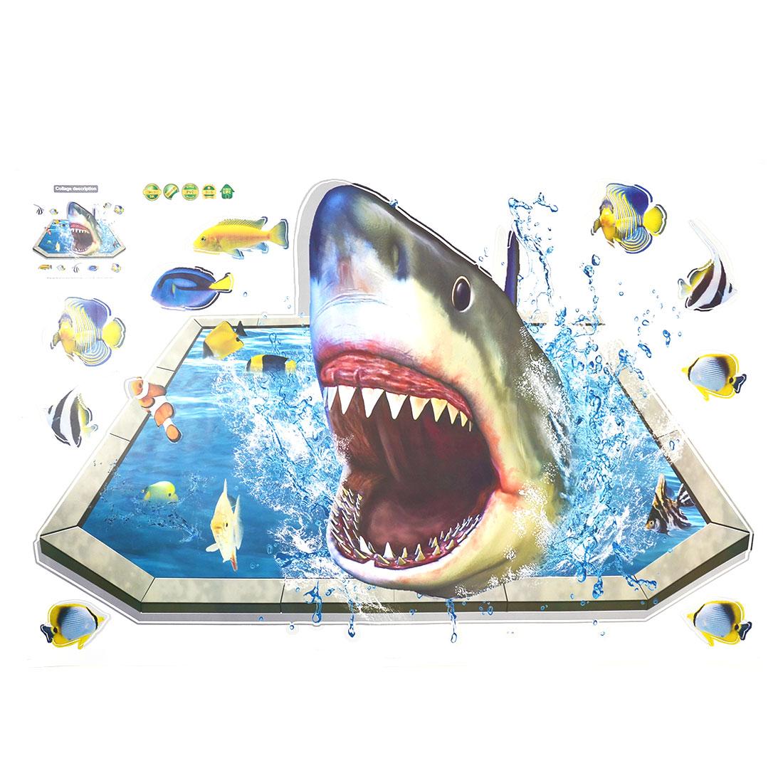 Living Room PVC Shark Fish Prints DIY Ornament Wall Sticker Decal Mural 60 x 90cm