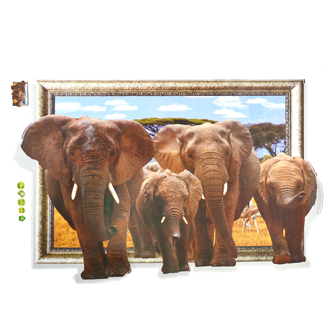 Living Room PVC Elephants Prints DIY Ornament 3D Wall Sticker Decal Mural 60 x 90cm