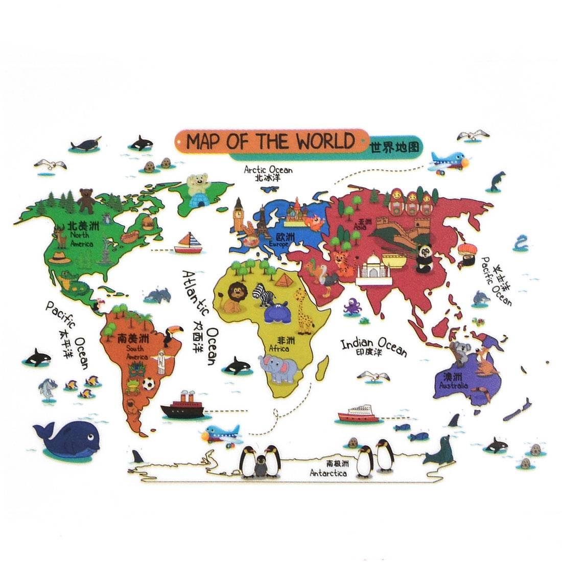 Living Room PVC World Map Prints DIY Ornament Wall Sticker Decal Mural 60 x 90cm