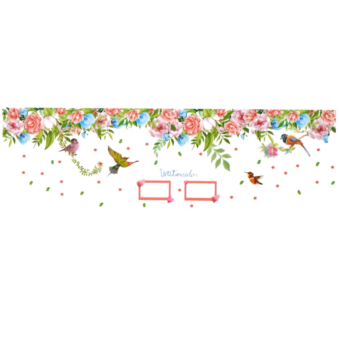 Home PVC Flower Birds Pattern DIY Ornament Wall Sticker Decal Mural 60 x 90cm