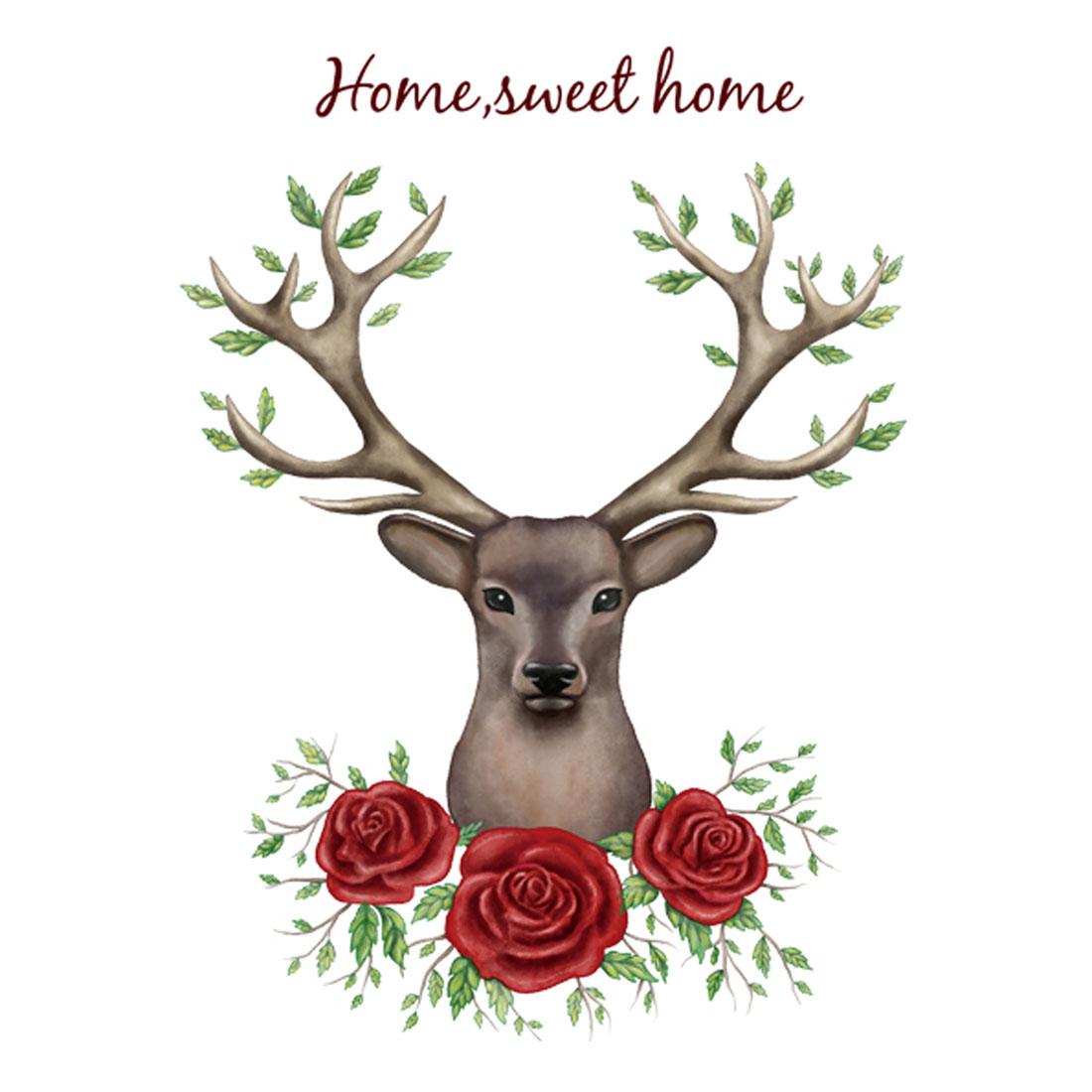 Living Room PVC Deer Rose Prints DIY Ornament Wall Sticker Decal Mural 60 x 90cm