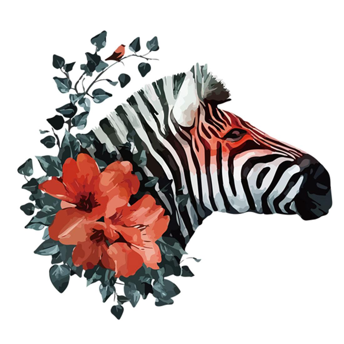 Bedroom PVC Zebra Flower Pattern DIY Decor Wall Sticker Decal Mural 50 x 70cm