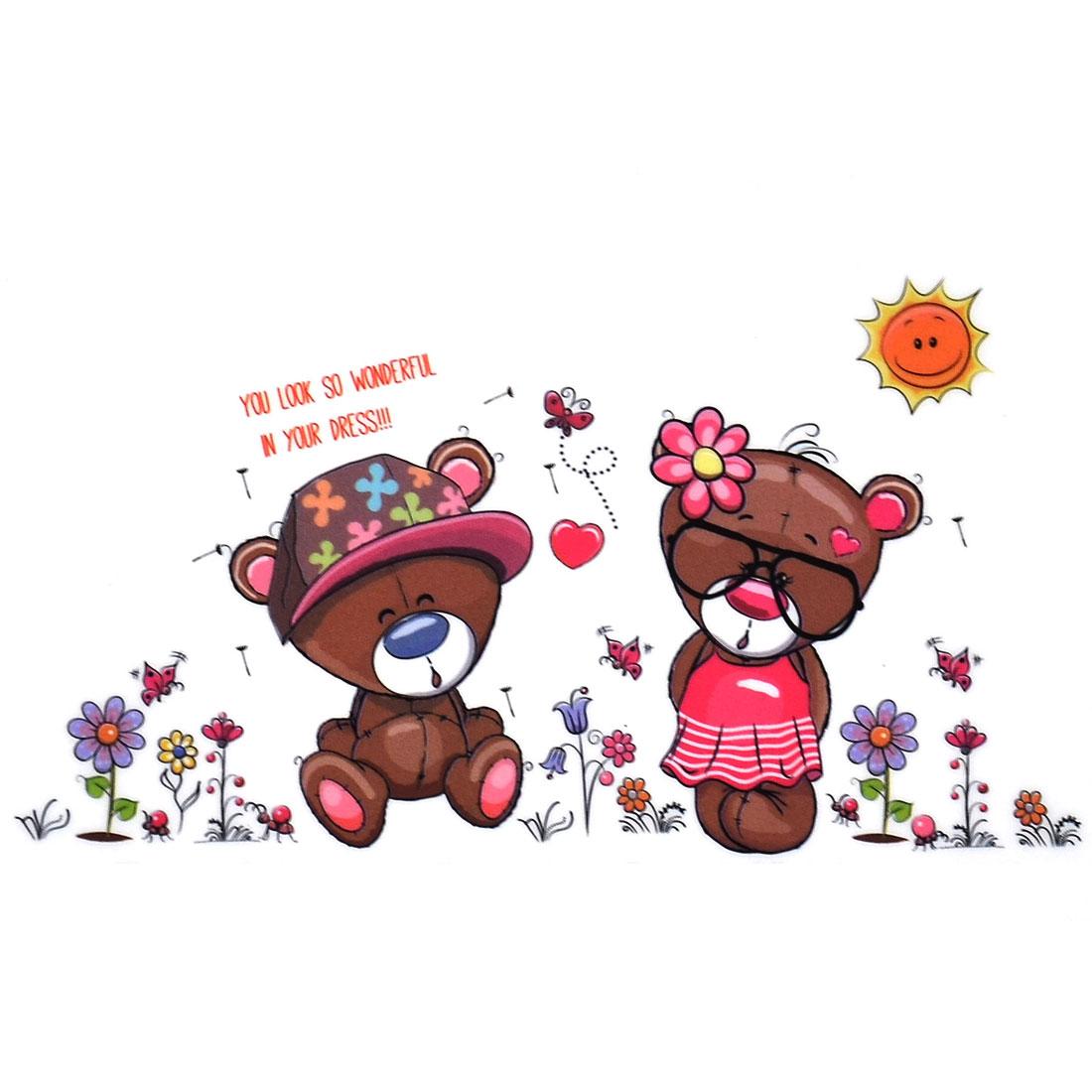 Home PVC Bears Flower Print DIY Decor Self Adhesive Wall Sticker Decal Mural 50 x 70cm