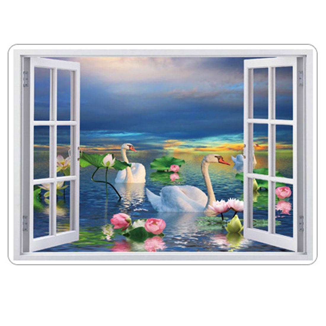 Household PVC Swan Pattern DIY Ornament Wall Sticker Decal Mural 50 x 70cm