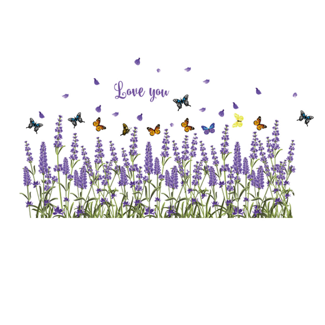 Home PVC Lavender Butterflies Prints DIY Wall Sticker Decal Mural 50 x 70cm