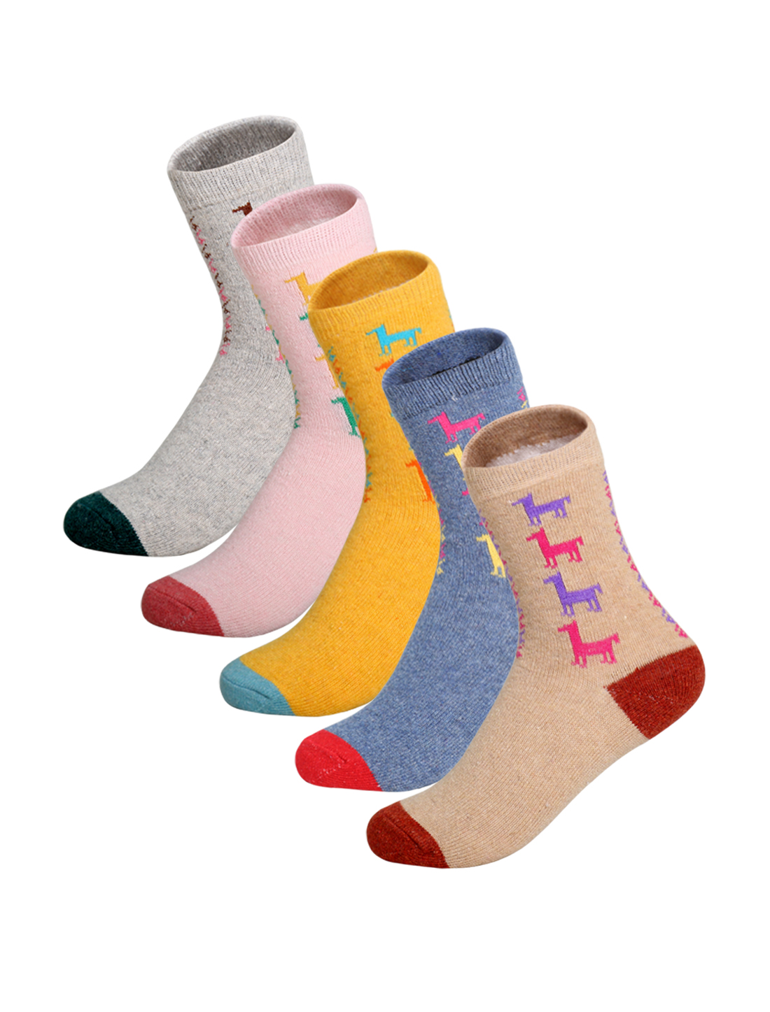 Women 5 Pack Elastic Cuffs Ankle High Horse Socks Assorted 9-11