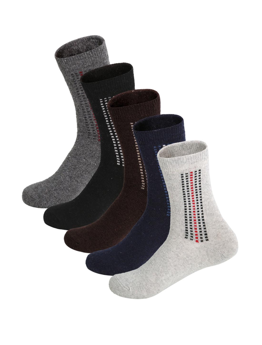 Men 5 Pack Plaids Pattern Half Cushion Basic Crew Socks Assorted 10-12