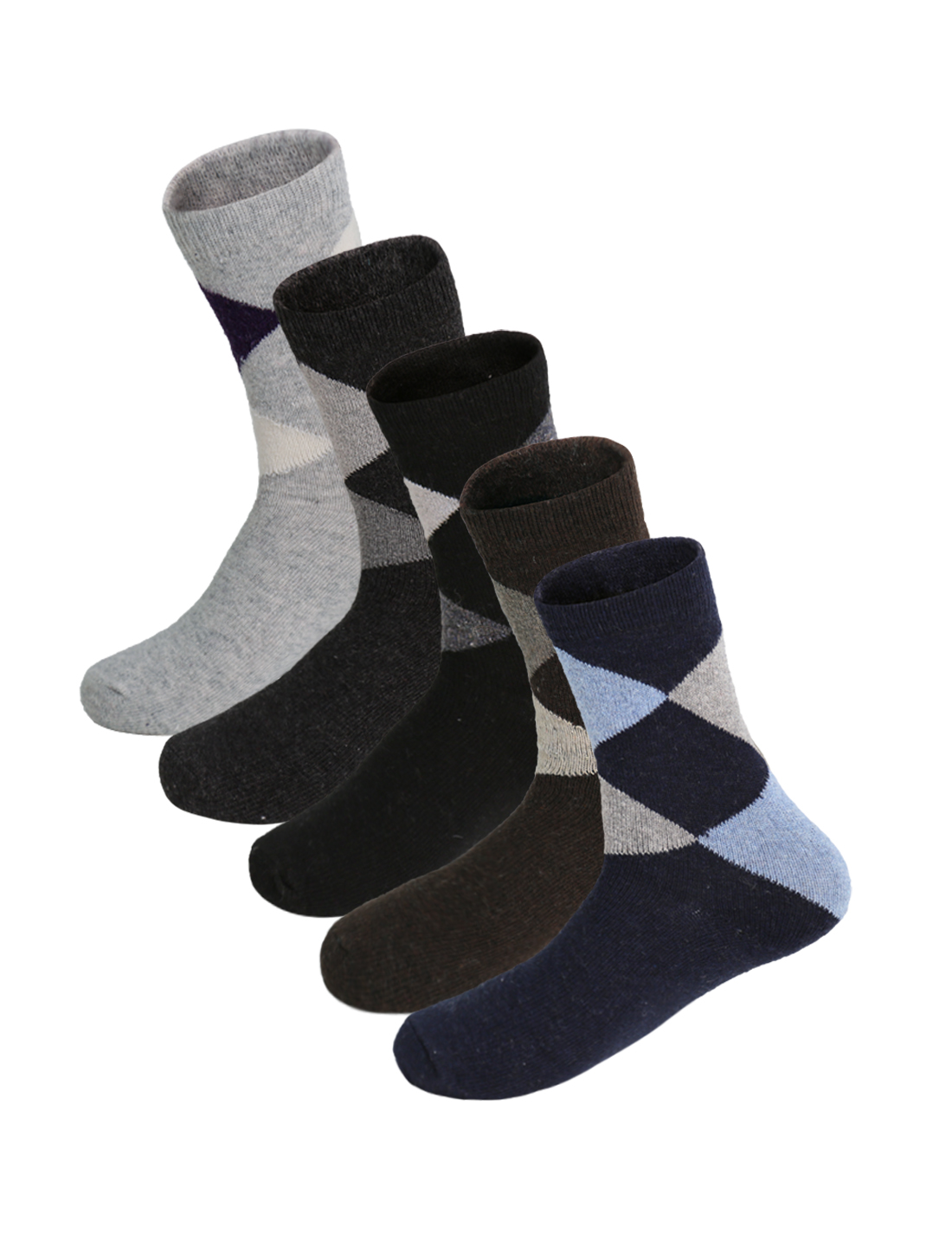Men 5 Pack Argyle Pattern Half Cushion Basic Crew Socks Assorted 10-12