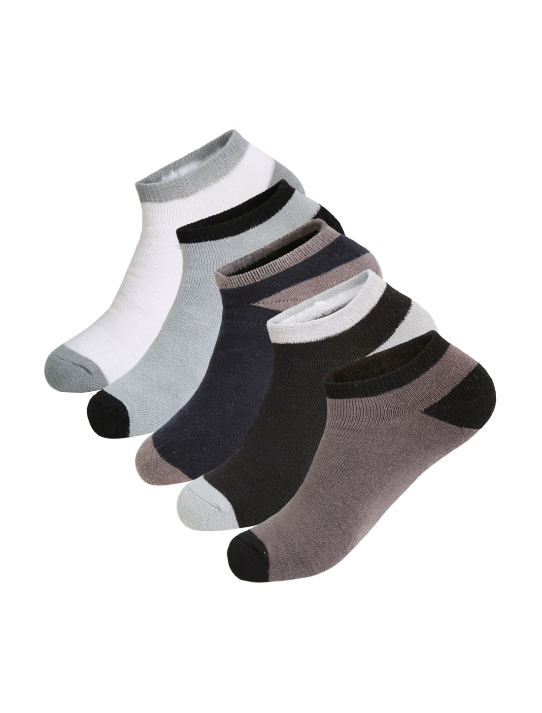 Man 5 pair Color Block Breathable No Show Boat Socks Size 10-12