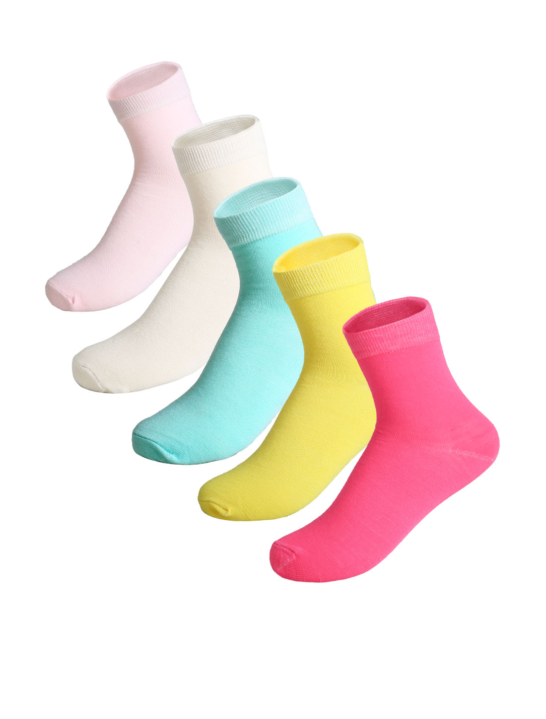Women 5 pair Ankle Length Elastic Cuff Socks Assorted 9-11
