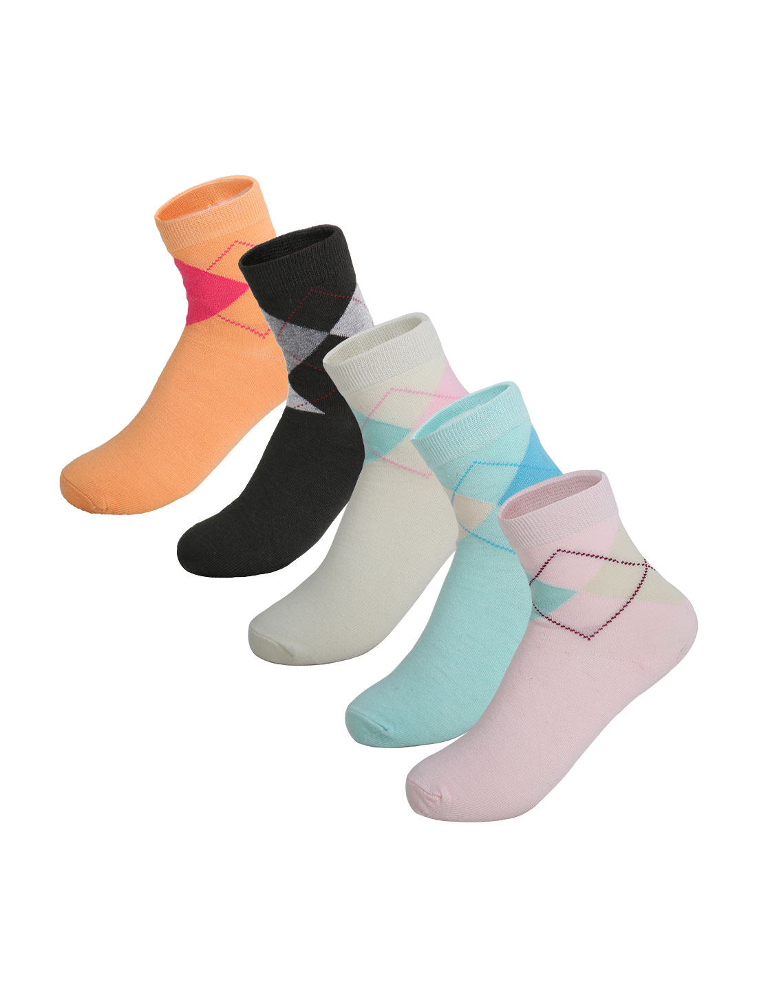 Women 5 Pack Ankle Length Elastic Cuff Argyle Socks Assorted 9-11