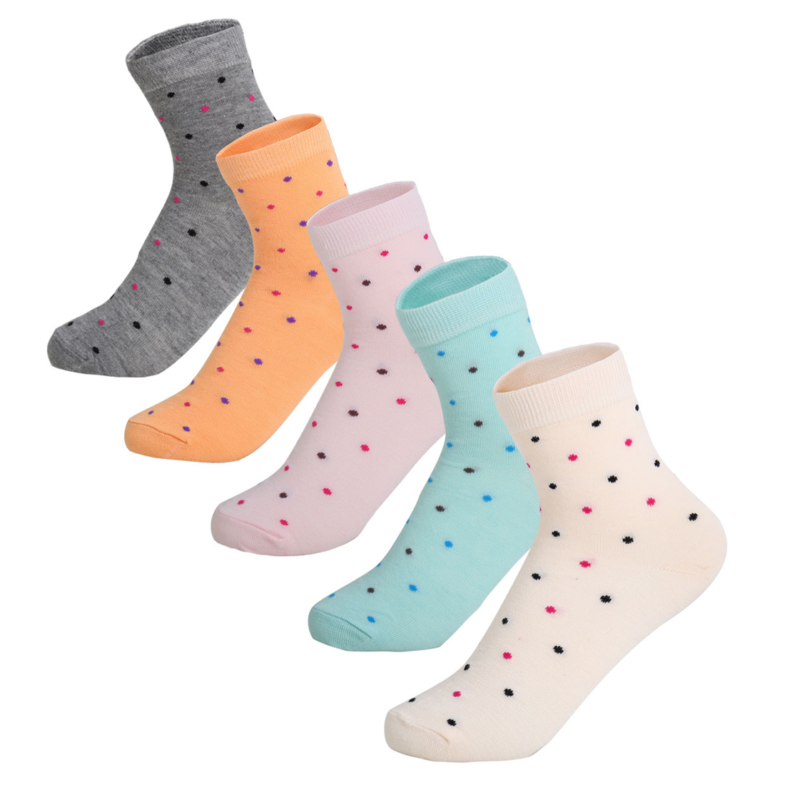 Women 5 Pack Ankle Length Elastic Cuff Dots Socks Assorted 9-11