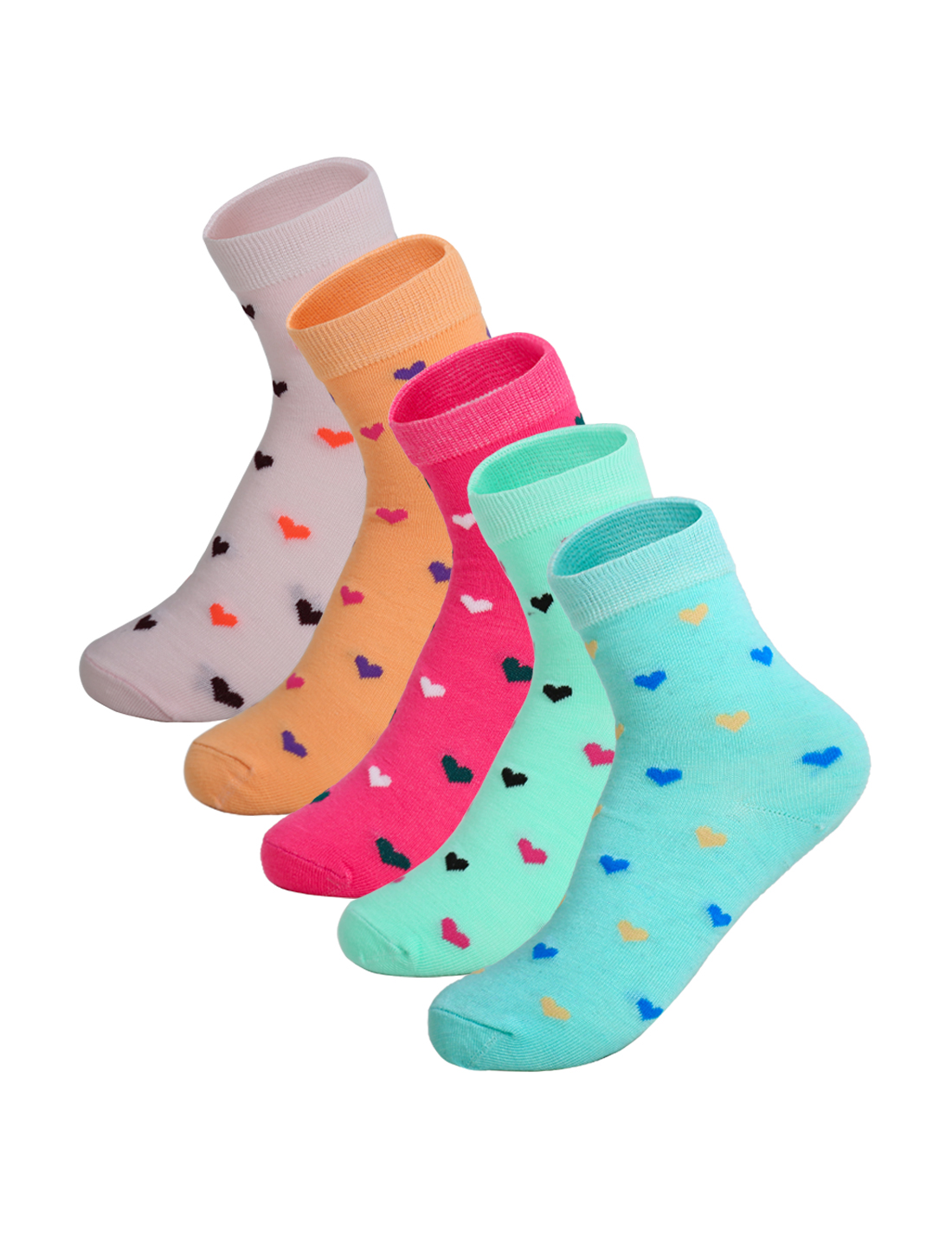 Women 5 Pack Ankle Length Elastic Cuff Hearts Socks Assorted 9-11
