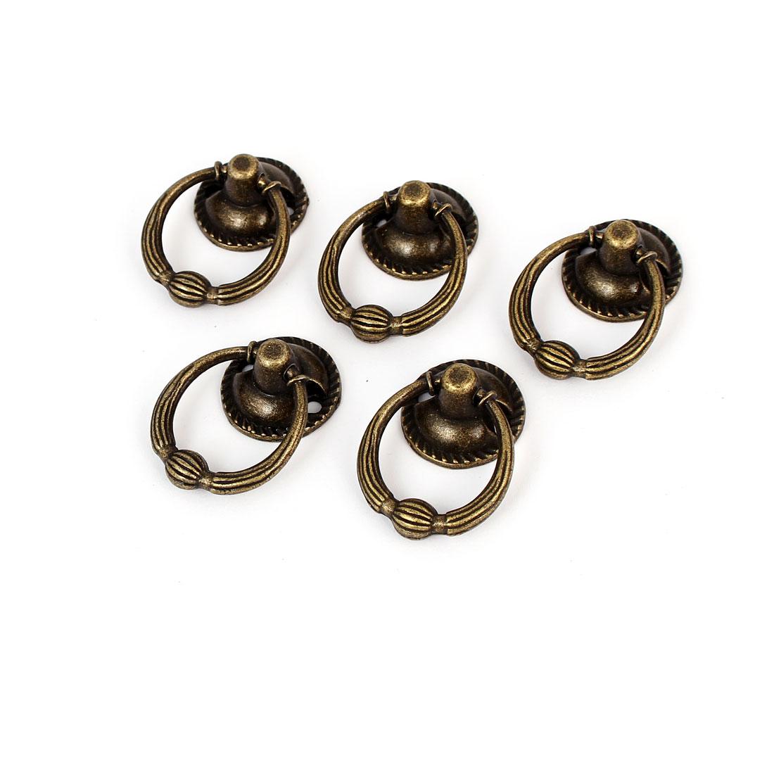 20mm Ring Dia Zinc Alloy Retro Style Round Base Pull Handle Bronze Tone 5pcs
