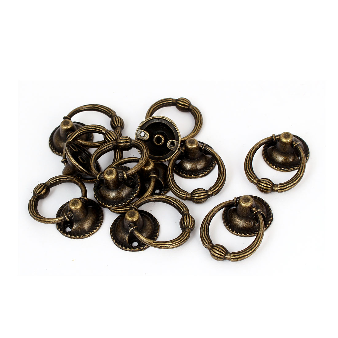 20mm Ring Dia Zinc Alloy Retro Style Round Base Pull Handle Bronze Tone 10pcs