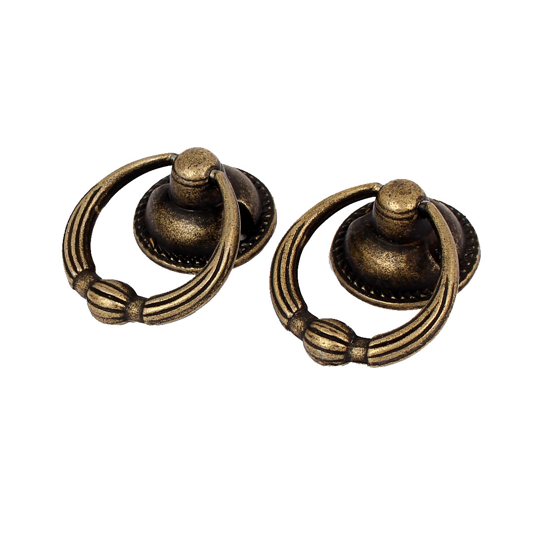 30mm Ring Dia Zinc Alloy Retro Style Round Base Pull Handle Bronze Tone 2pcs