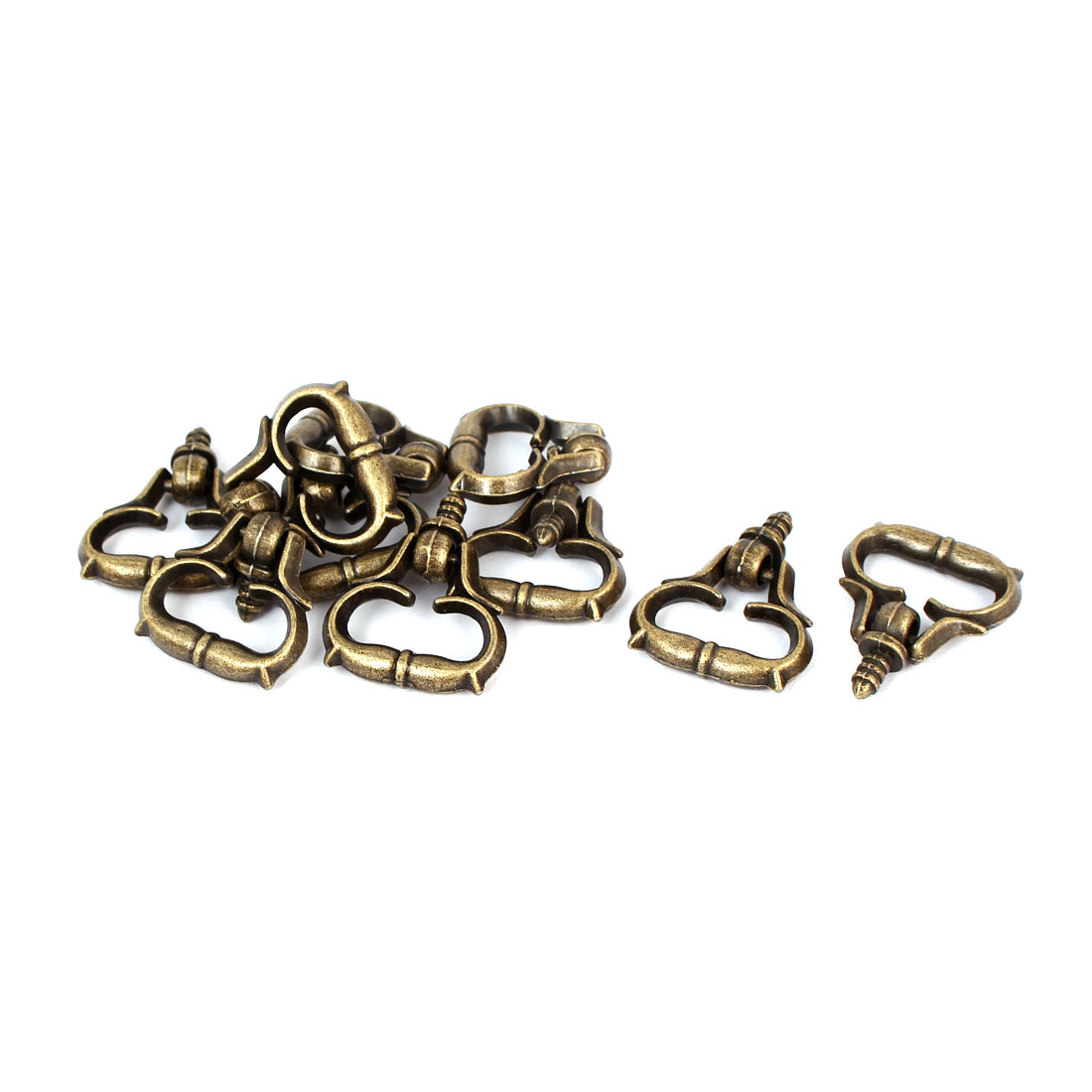Jewelry Box Zinc Alloy Pull Handle Bronze Tone 23mm x 28mm x 5mm 10pcs