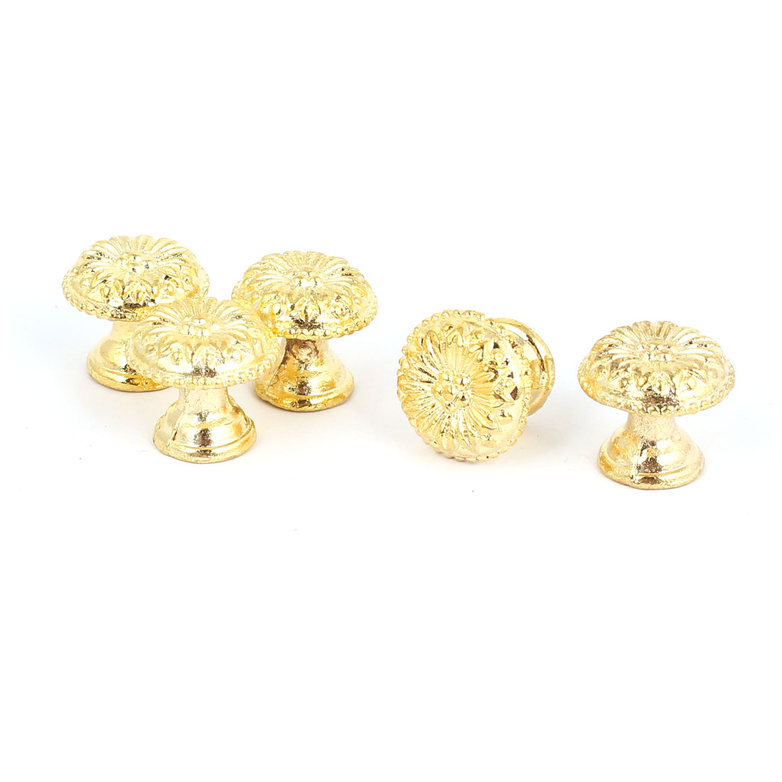 Door Drawer Zinc Alloy Retro Style Round Pull Handle Knob Gold Tone 17x16mm 5pcs