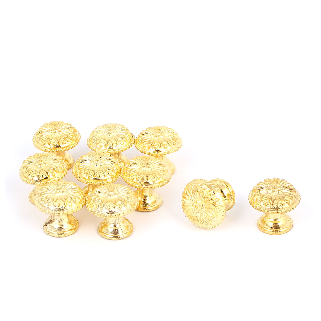 Door Drawer Zinc Alloy Retro Style Round Pull Handle Knob Gold Tone 17x16mm 10pcs