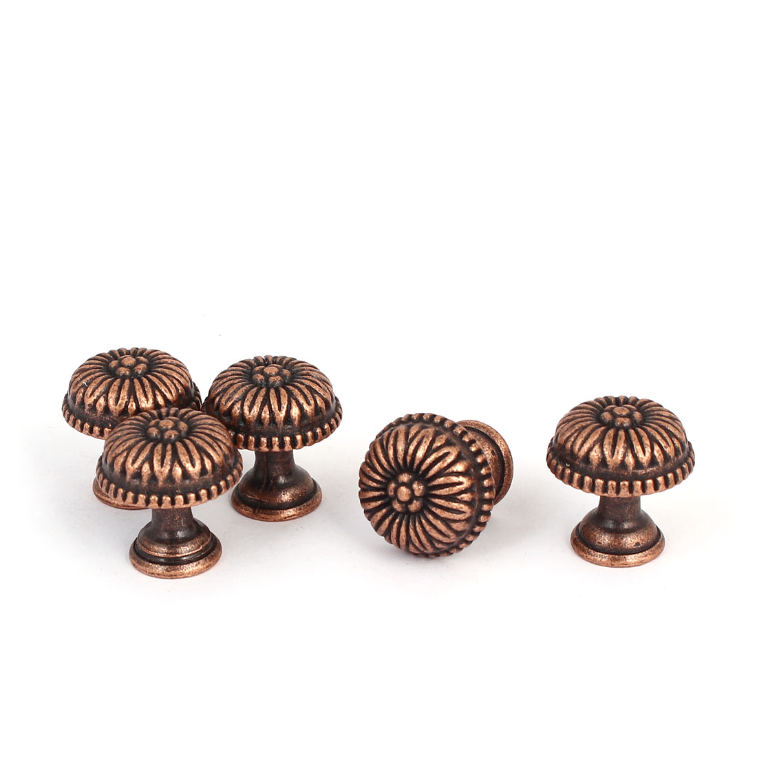 Drawer Zinc Alloy Retro Style Round Pull Handle Knob Copper Tone 22x23mm 5pcs