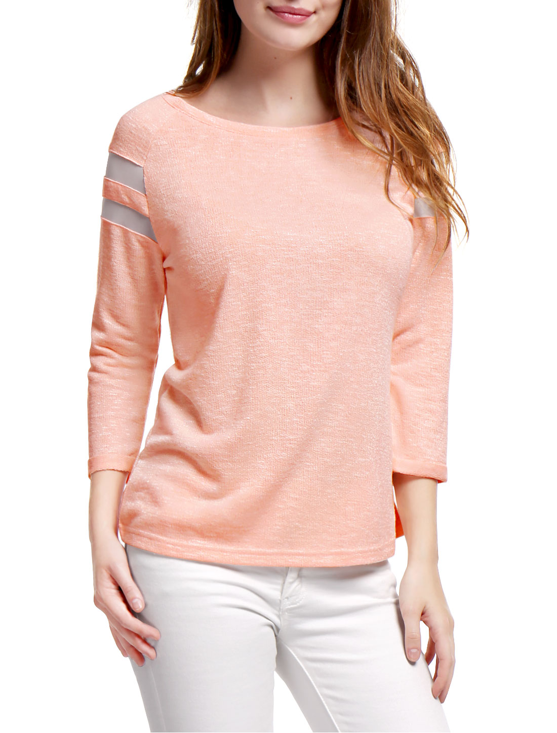 Woman Mesh Panel Raglan Sleeves Scoop Neck T-Shirt Pink L