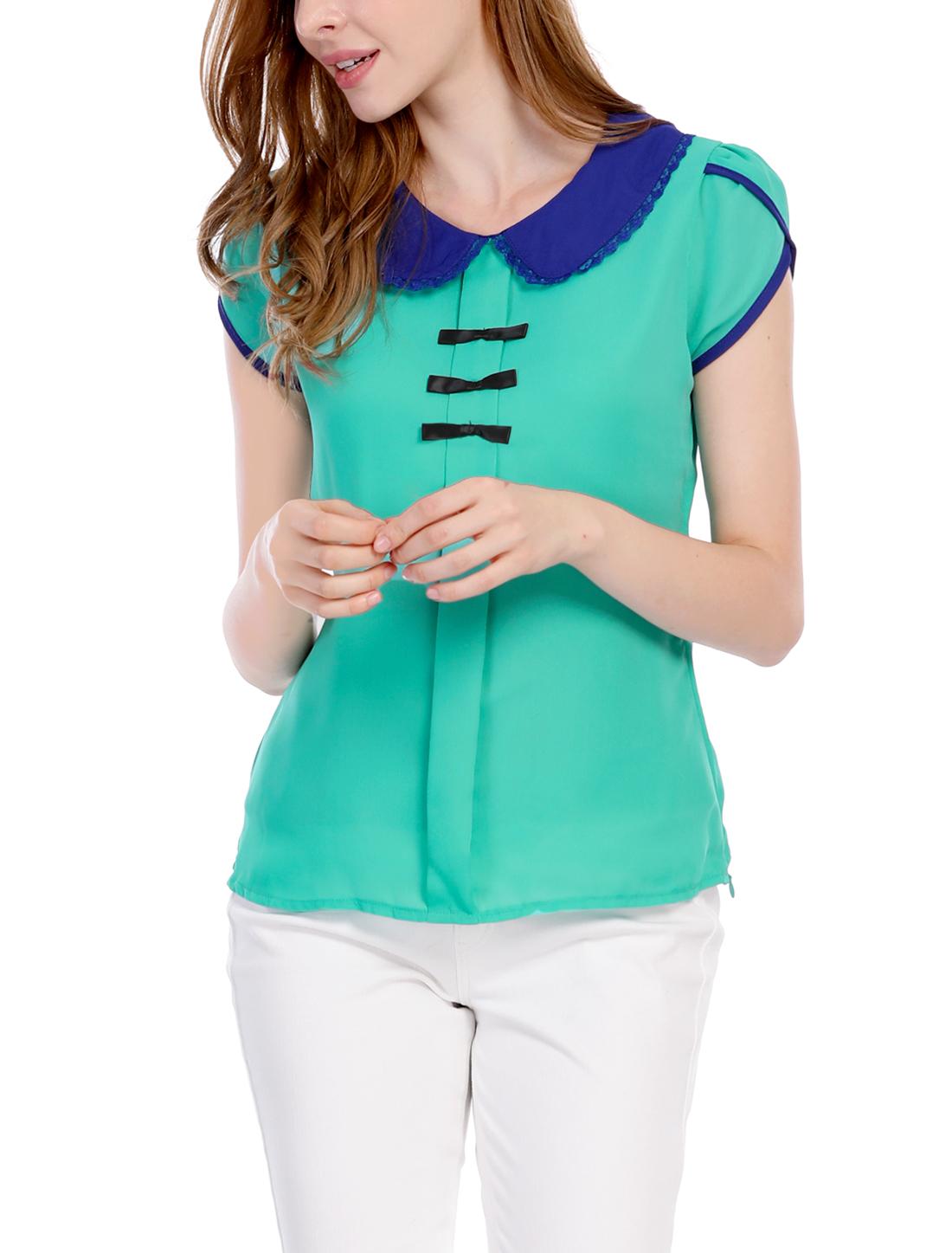 Women Doll Collar Bowknot Decor Petal Sleeves Chiffon Blouse Green M