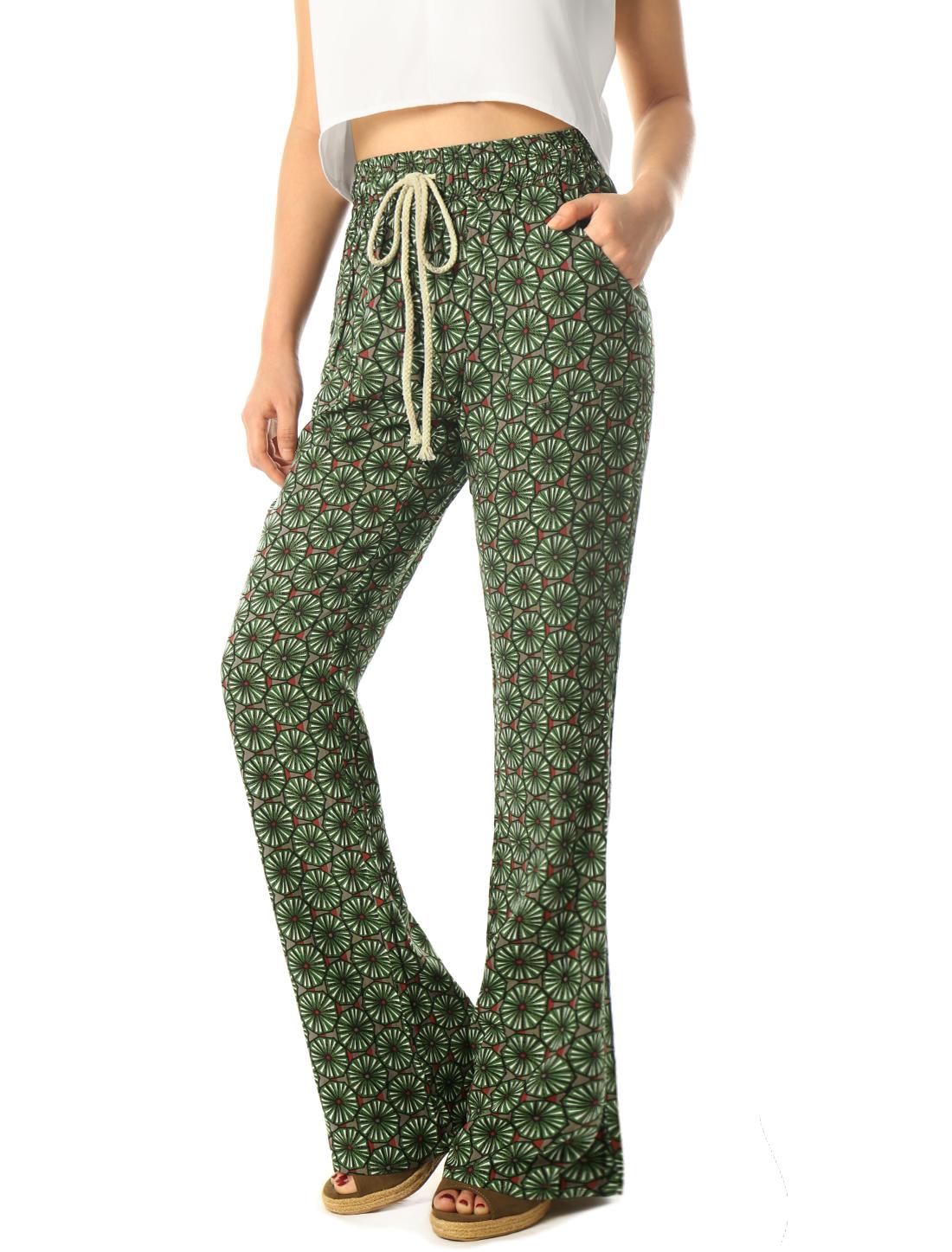 Woman Floral Prints Drawstring Waist Boho Flare Pants Green S