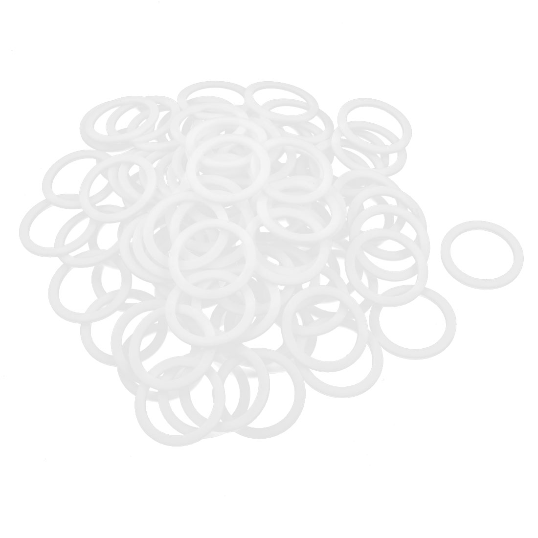 100pcs 39mm x 30mm x 2mm PTFE Flange Gasket Sanitary Pipe Fitting Ferrules White