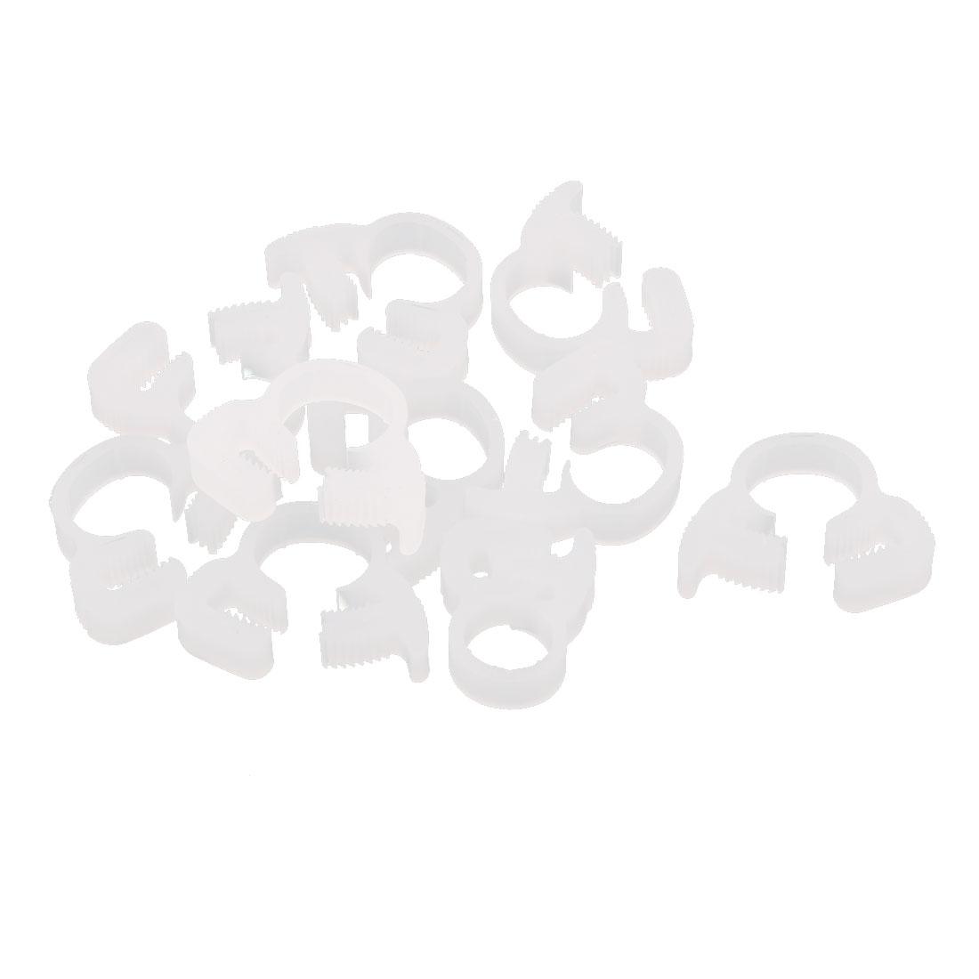 10 Pcs 7.6-8.1mm Range Plastic Adjustable Band Hose Pipe Fastener Clamp