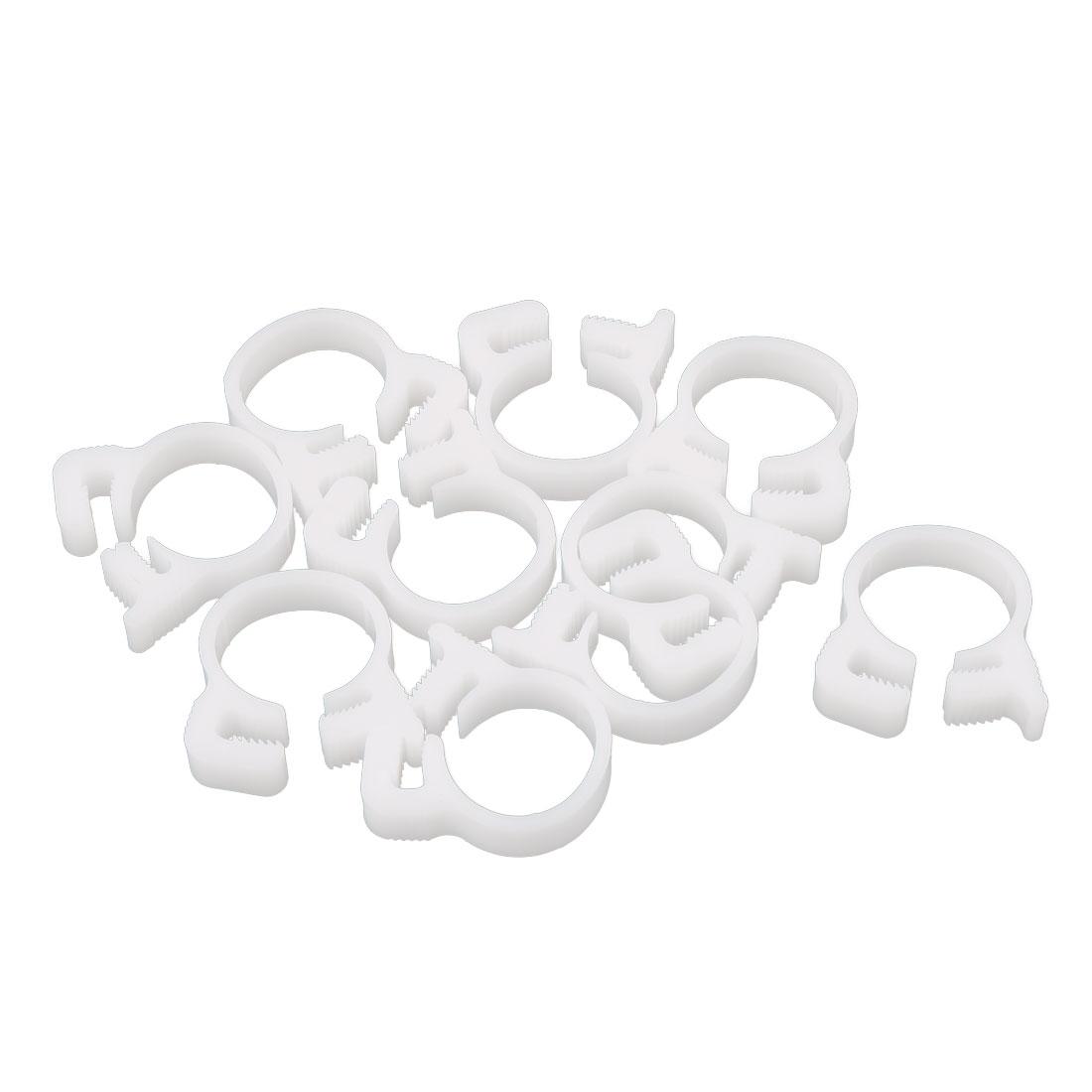 10 Pcs 13.8-14.3mm Range Plastic Adjustable Band Hose Pipe Fastener Clip