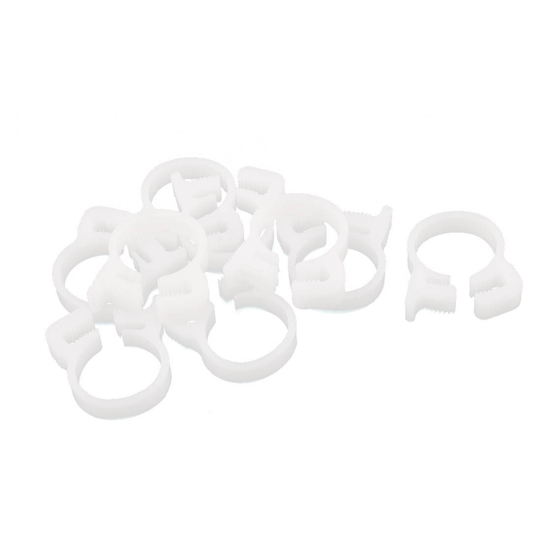 10 Pcs 15.3-15.9mm Range Plastic Adjustable Band Hose Pipe Fastener Clamp