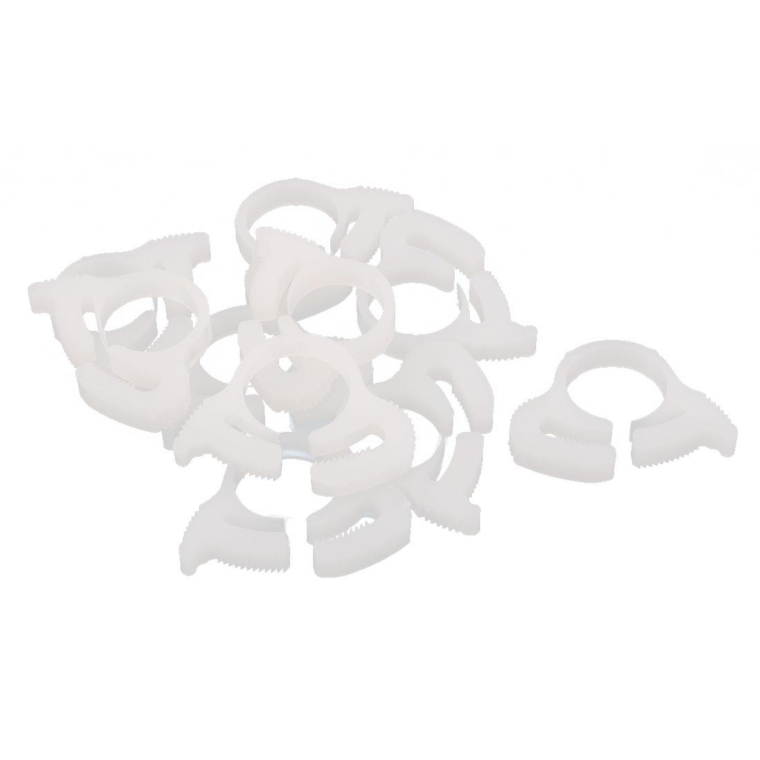 10 Pcs 15.2-17mm Range Plastic Adjustable Band Hose Pipe Fastener Clamp