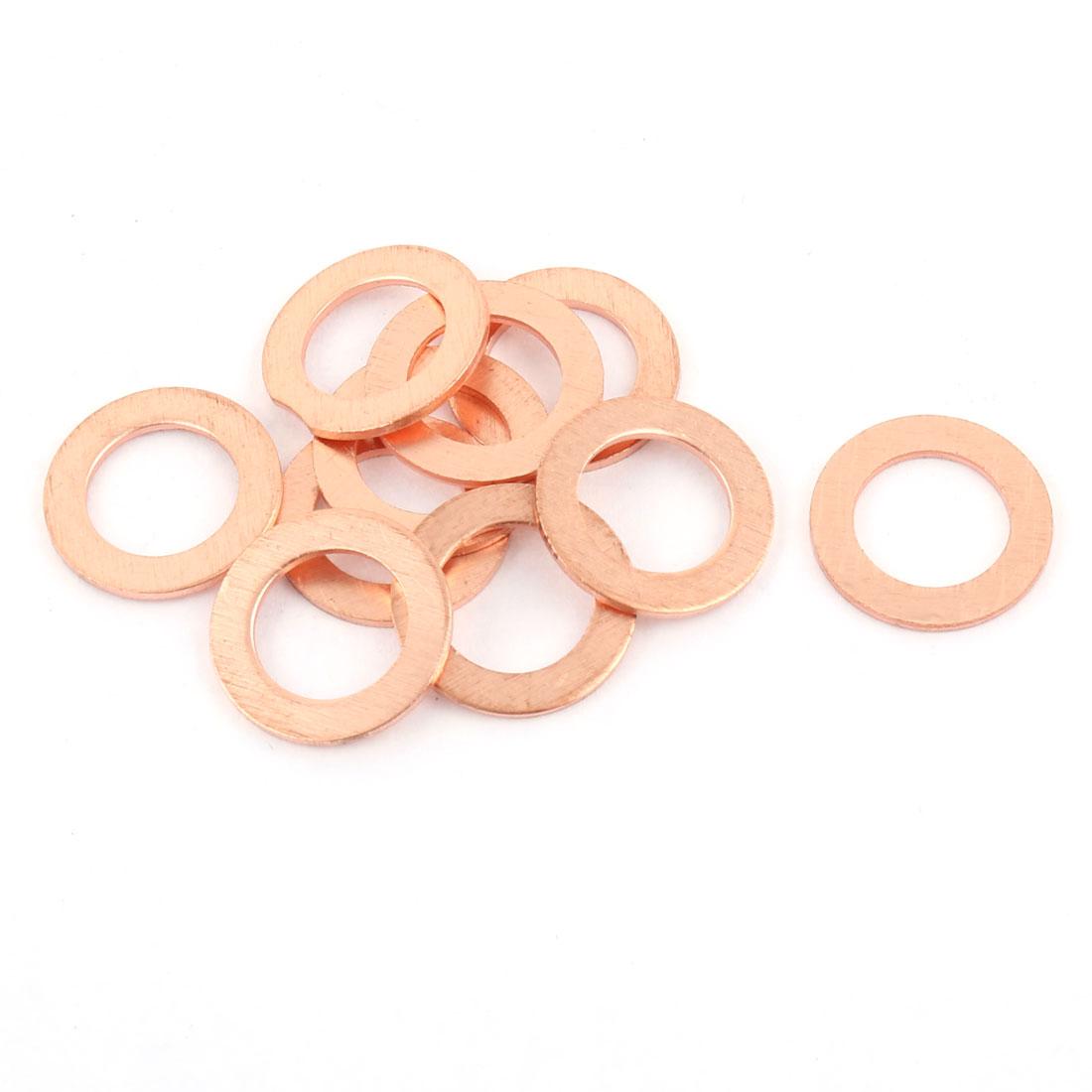 10pcs 10mm x 16mm x 1mm Flat Ring Copper Crush Washer Sealing Gasket Fastener