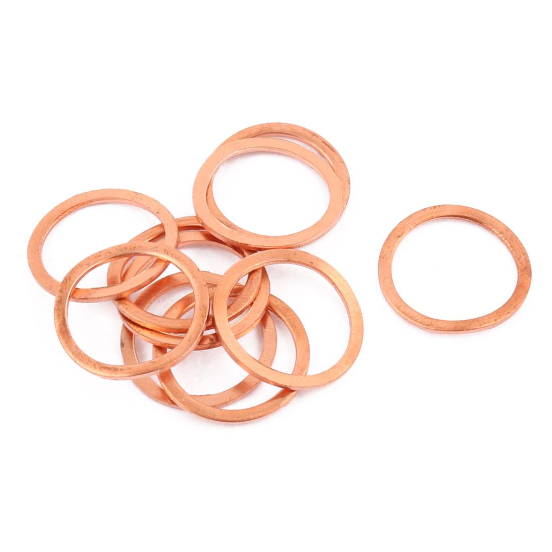 10pcs 20mm x 16mm x 1mm Flat Ring Copper Crush Washer Sealing Gasket Fastener