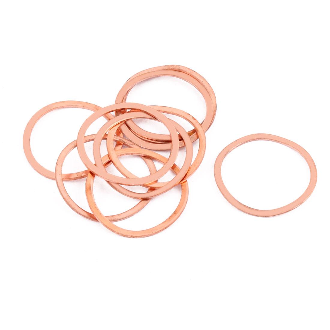 10pcs 32mm x 27mm x 1mm Flat Ring Copper Crush Washer Sealing Gasket Fastener