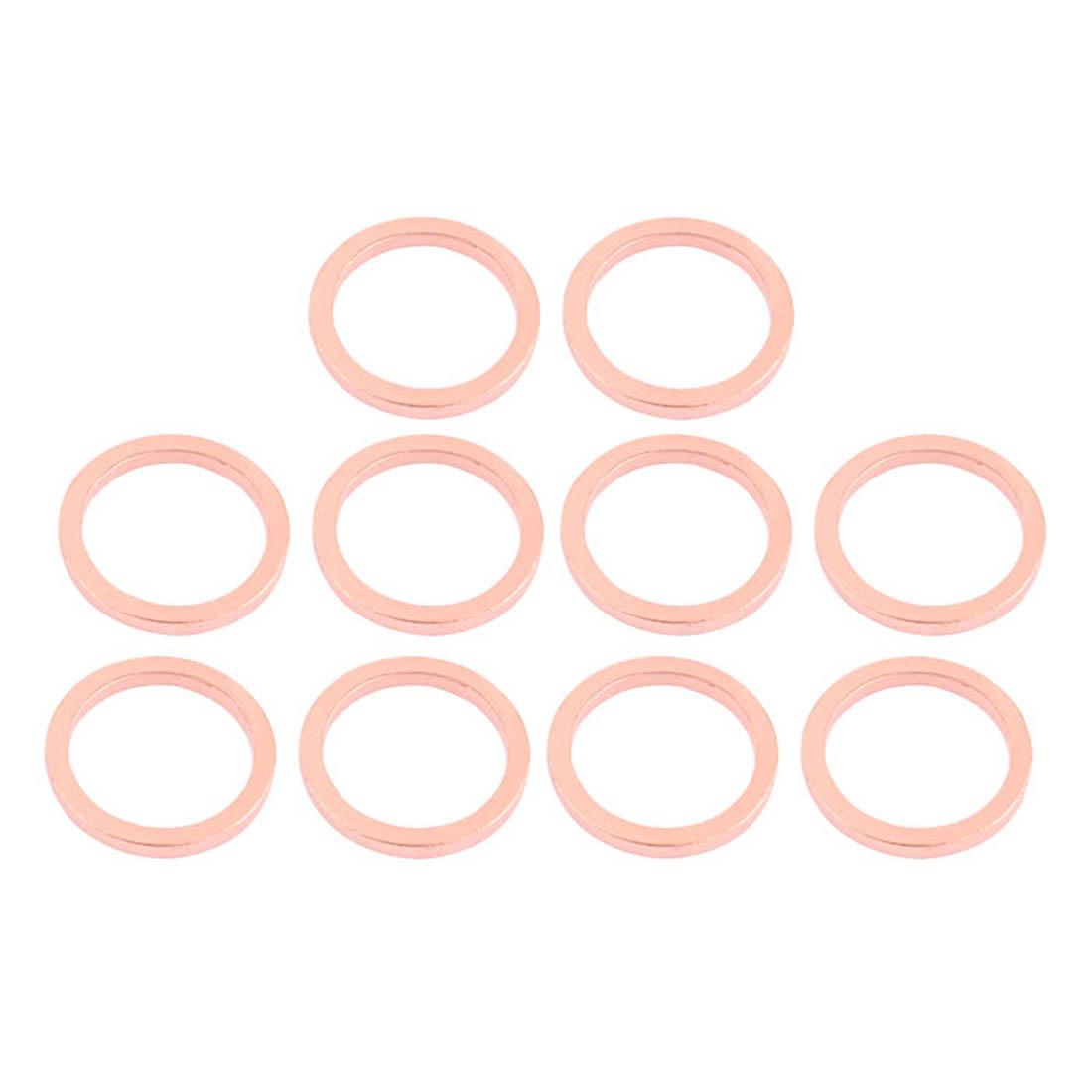 10pcs 20mm x 14mm x 2mm Flat Ring Copper Crush Washer Sealing Gasket Fastener