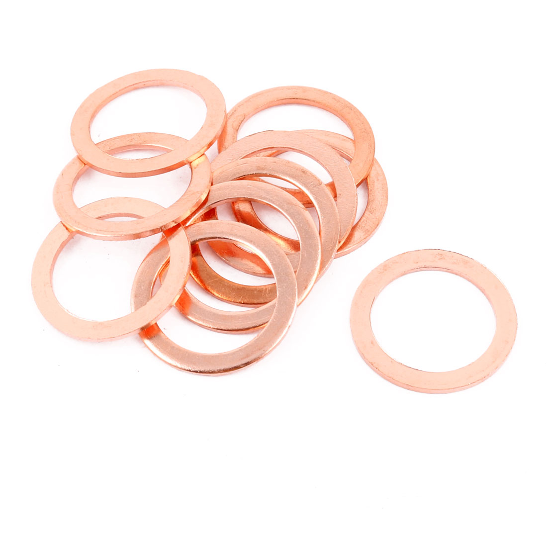 10pcs 30mm x 22mm x 2mm Flat Ring Copper Crush Washer Sealing Gasket Fastener