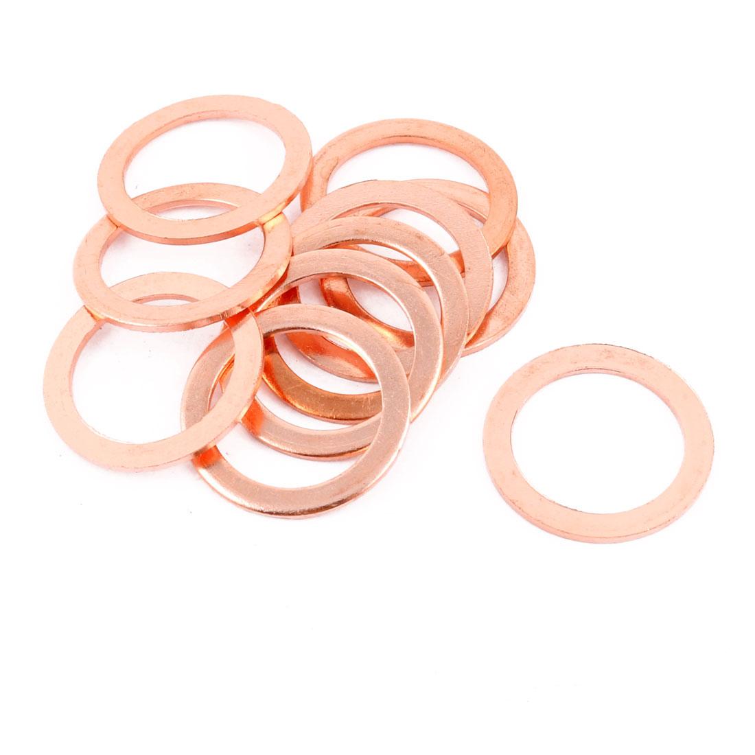 10pcs 30mm x 22mm x 2mm Flat Ring Copper Crush Washer Sealing Gasket Fastener
