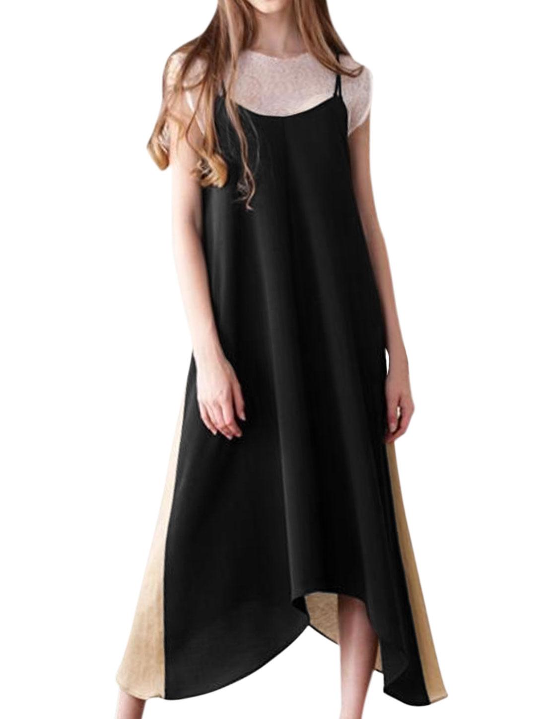 Women Spaghetti Straps Contrast Color Loose Cami Dress Black M