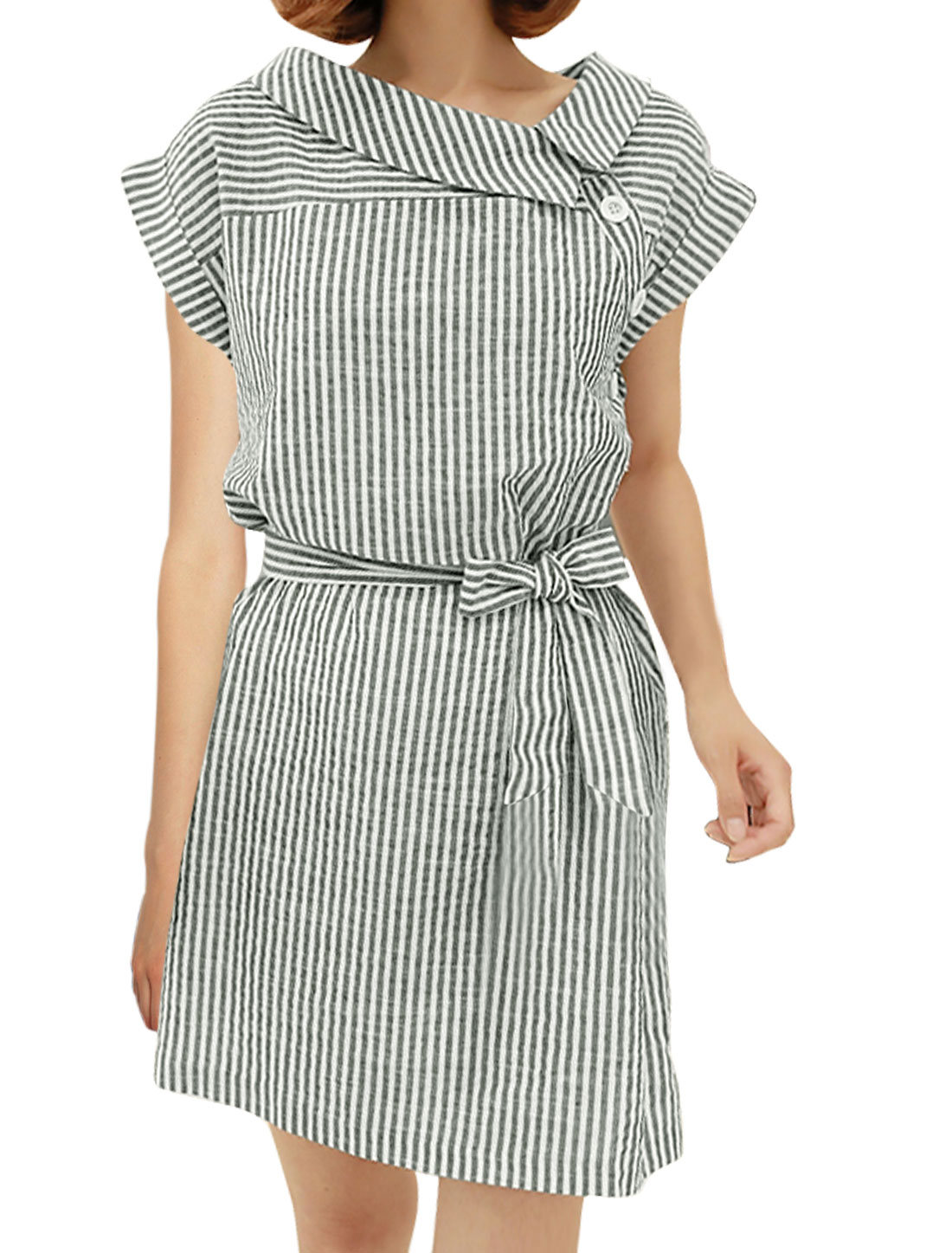 Women Turn Down Collar Cuffed Sleeves Stripes Tunic Shirt Dress Gray XS