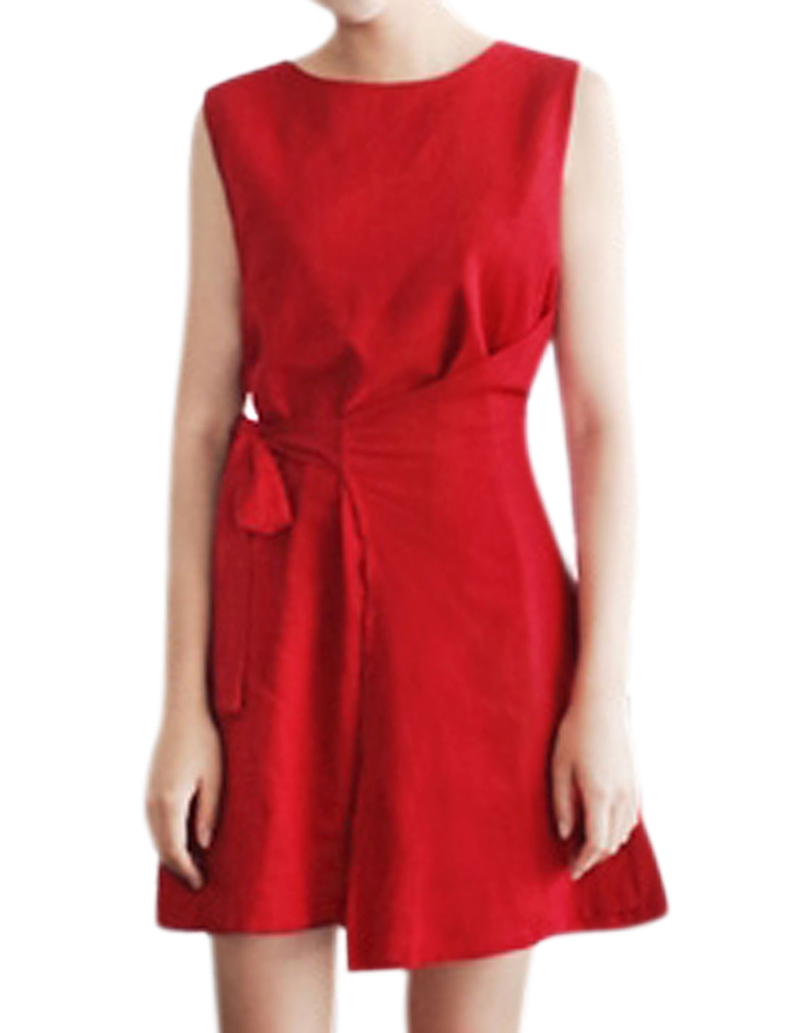 Women Sleeveless Round Neck Overlay Front Belted Tunic Dress Red XS