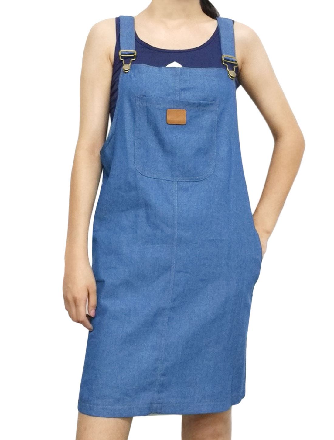 Women Front Pocket Adjustable Straps Denim Suspender Dress Dark Blue S