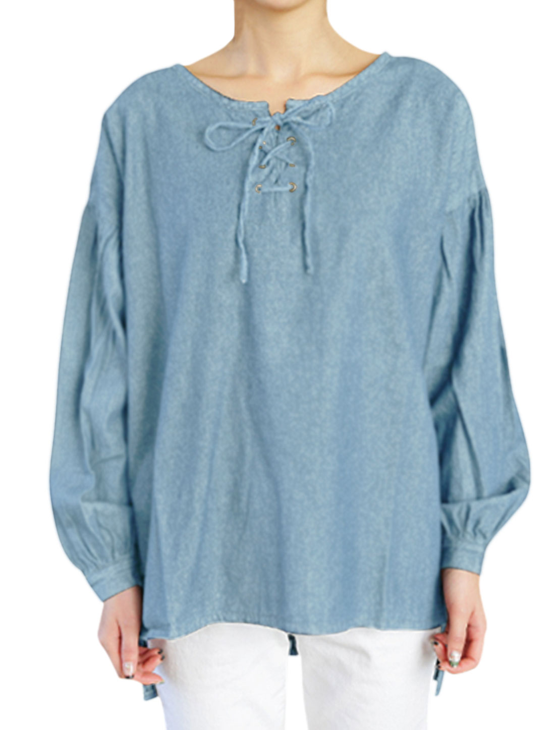 Woman High Low Hem Lace Up Front Denim Tunic Blouse Light Blue S