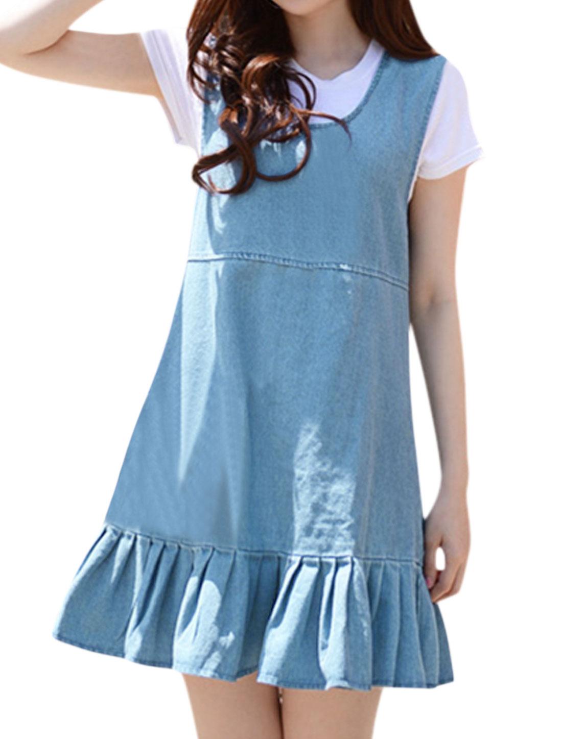 Women U Neck Sleeveless Flouncing Hem Denim Dress Blue M