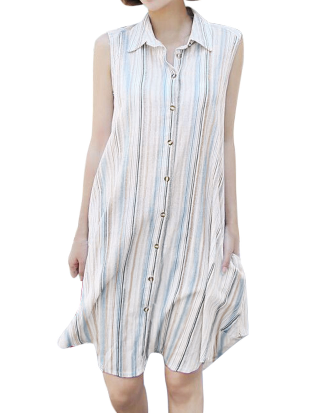 Women Sleeveless Single Breasted Striped Shirt Dress Gray S
